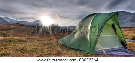 Tent at Sunrise - stock photo