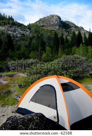 Tent camping in Hetch Hetchy, Yosemite National Park - stock photo