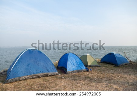 Tent camping on the lawn. Attractions near the dam. In the morning, a cold