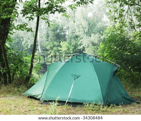 Tent in a forests campsite