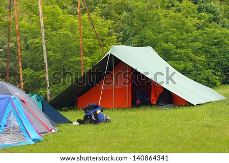tent in scout camp open air in the middle of nature - stock photo