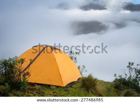 Tent in the mountains,  Andes. Salkantay Trekking, Peru. - stock photo