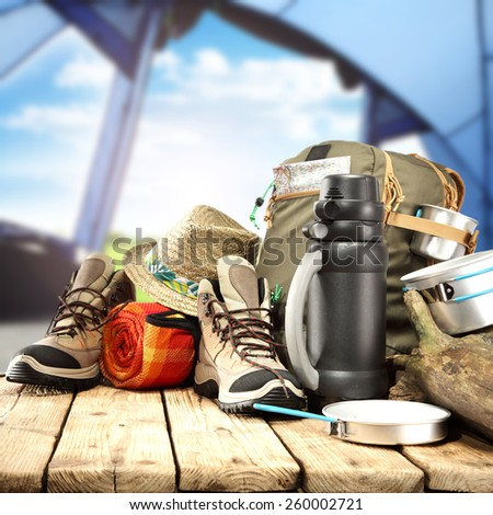 tent interior and shoes and backpack  - stock photo