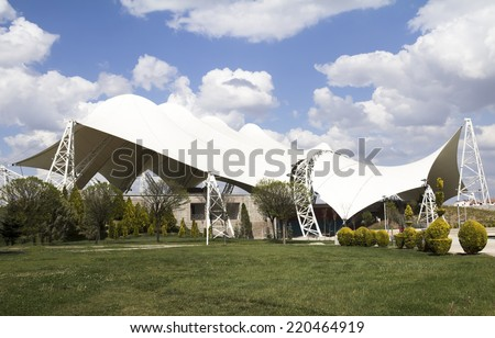 tent like steel structure, theatre for people in Harikalar Diyari Park Ankara Turkey - stock photo