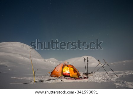 Tent on a Winter Expedition in the North of sweden - stock photo