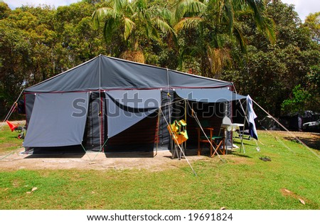 Tent On An Outdoor Camping Site - stock photo