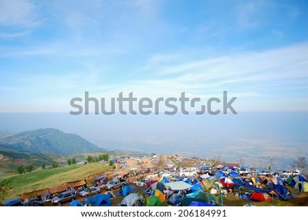 Tent on the mountain ,Phu Thap Boek, Phetchabun Province, Thailand. - stock photo