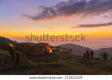 Tent with the morning light - stock photo