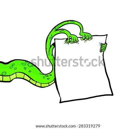Tentacle monster's with a blank sheet of paper in a cartoon style. - stock photo