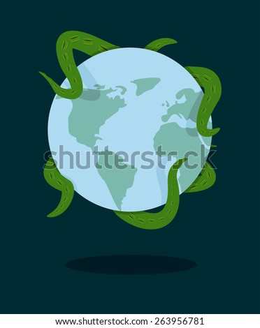 tentacles Octopus grabbed planet Earth - stock photo