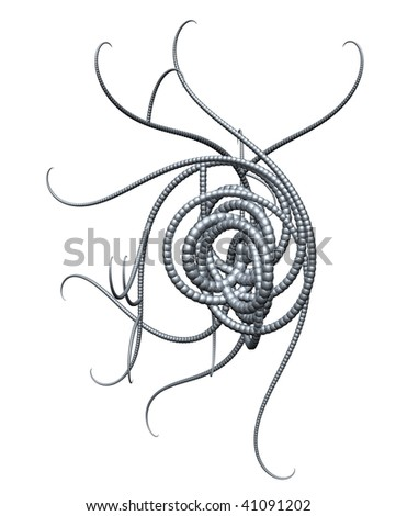 tentacles on white background - 3d illustration - stock photo