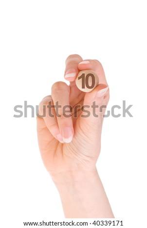 tenth bingo ball in the hand - stock photo