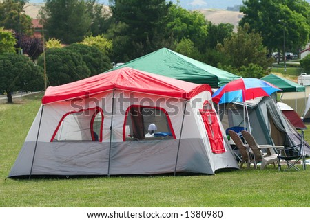 Tents at a camp site - stock photo