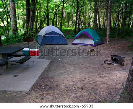 Tents at Campsite - stock photo