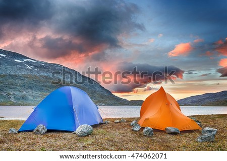 Tents in the coming Night in Norway