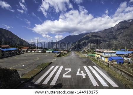 Tenzing-Hillary airport Lukla - Nepal, Himalaya - stock photo