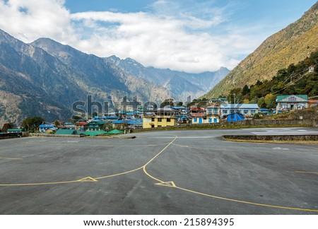 Tenzing-Hillary airport Lukla - Nepal, Himalayas - stock photo