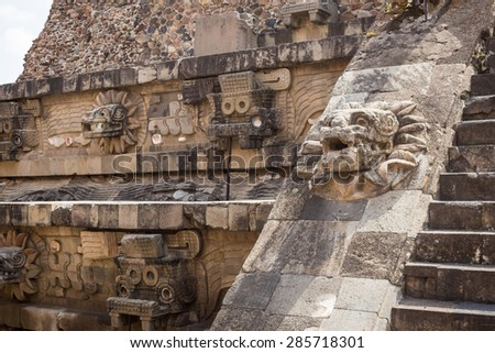Teotihuacan aztec ruins in central mexico. - stock photo