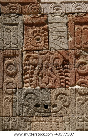 """TEOTIHUACAN, MEXICO - MARCH 29: """"Palace of Quetzal Butterfly"""" wall detail in Teotihuacan pyramid complex, a huge archaeological pre-Columbian pyramid site, on March 29, 2009 in Teotihuacan, Mexico - stock photo"""