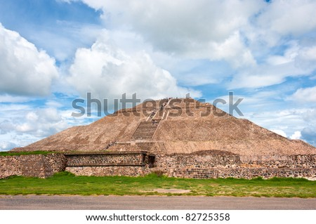 Teotihuacan pyramid of the sun, Mexico. - stock photo