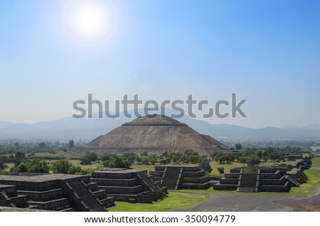 Teotihuacan ruins under bright sun - stock photo