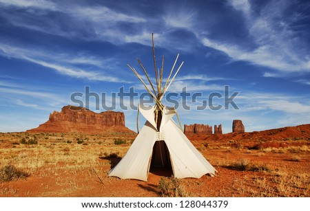 Tepee in Monument Valley on border of Arizona and Utah. - stock photo