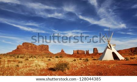 Tepee on desert floor in Monument Valley on the Arizona and Utah border. - stock photo