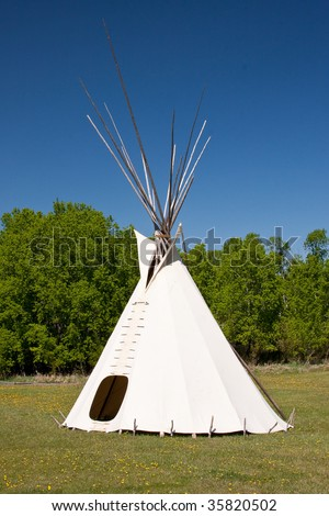 Tepees were traditional housing for Native Americans in Great Plains and other Western states. - stock photo