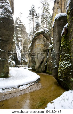 Teplice-Adrspach Rocks, Czech Republic - stock photo