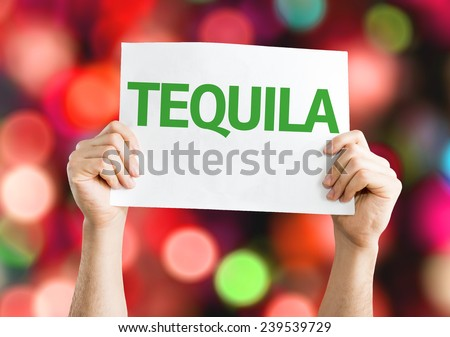 Tequila card with colorful background with defocused lights - stock photo