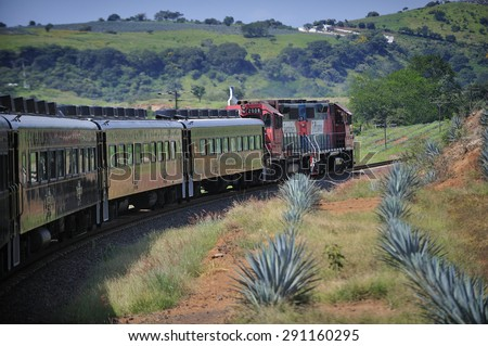 Tequila, Jalisco, Mexico  October. 6. 2013: Jose Cuervo Express, passenger train for tequila tourism run by Jose Cuervo, the leading company of Tequila, town of Tequila, Jalisco, Mexico  - stock photo
