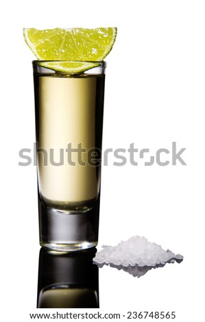 Tequila shot with salt and lemon  in a mirror isolated on white background - stock photo