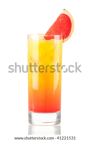 Tequila sunrise alcohol cocktail isolated on white background - stock photo