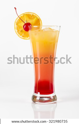 Tequila Sunrise cocktail. Delicious fruit cocktail with a dash of Tequila.  - stock photo