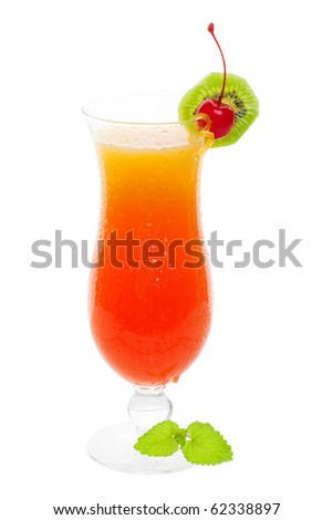 Tequila sunrise cocktail drink on a white background - stock photo