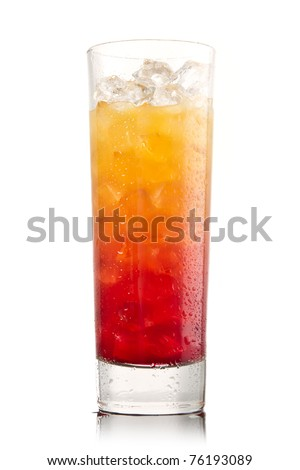 Tequila sunrise Cocktail isolated on a white - stock photo