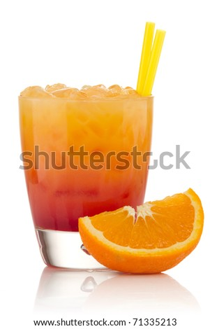 Tequila sunrise Cocktail isolated on a white background - stock photo