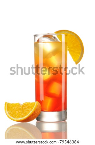 Tequila Sunrise cocktail isolated on white - stock photo