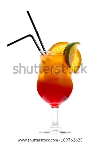 Tequila sunrise cocktail isolated on white background - stock photo