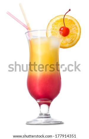 Tequila sunrise cocktail on white background. - stock photo