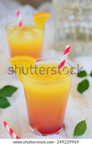 Tequila Sunrise cocktail, selective focus  - stock photo