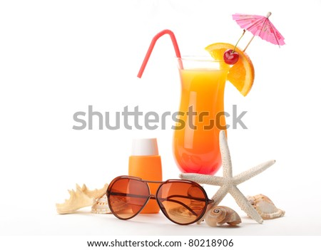 Tequila sunrise Cocktail,Sunblock and Sunglasses with Seashells Isolated on White Background.