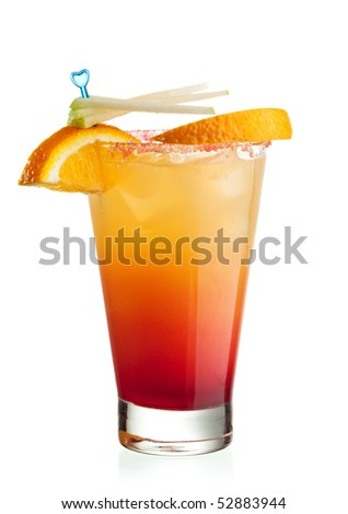 Tequila Sunrise Cocktail - Tequila, Orange Juice and Grenadine Syrup and Soda Water - stock photo