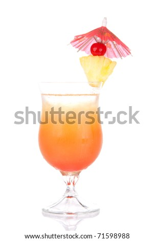 Tequila Sunrise cocktail with ice, triple sec, pineapple, cherry, cocktails umbrella, condensation isolated on a white background - stock photo