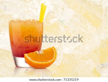 Tequila sunrise Cocktail with textured background - stock photo