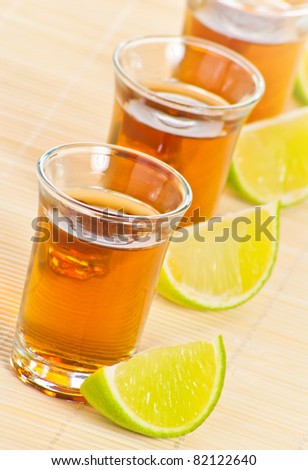 Tequila with lime - stock photo