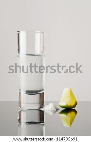 Tequila with lime and salt - stock photo