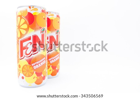 TERENGGANU, MALAYSIA - November 25th, 2015 : F&N Outrageous Orange is a carbonated soft drink's that manufactured by Fraser & Neave Limited (F&N). -stock photo.