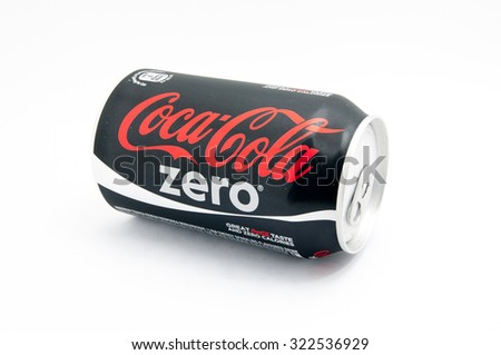 TERENGGANU, MALAYSIA - SEPTEMBER 30, 2015 : Coca cola zero is a one of edition coca cola carbonated soft drink was produced by The Coca Cola Company of Atlanta, Georgia. - stock photo