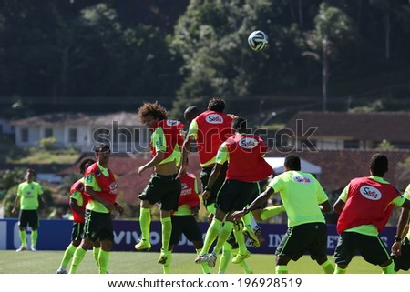 TERESOPOLIS, BRAZIL - May 05, 2014: The Brazil national football team practicing at Granja Comary training center in preparation for the 2014 World Cup soccer tournament that starts in June